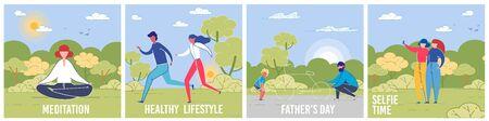 Leisure Activities Vector Social Media Banners Set