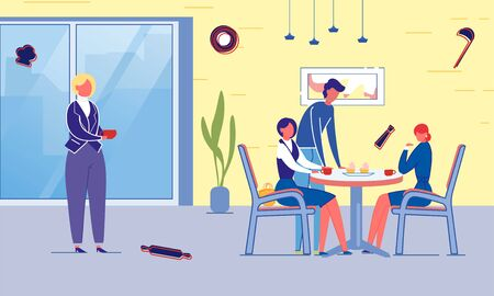 Business People Eating in Cafeteria or Canteen. Vector Illustration