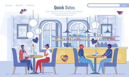 Landing Page Inviting to Quick Dates at Cafeteria Illustration