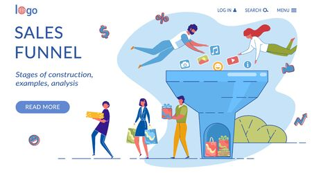 Sales Funnel Landing Page Flat Vector Template