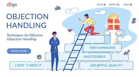 Objection Handling Flat Landing Page Template Иллюстрация