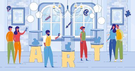 Modern Art Exhibition Center Word Concept Banner