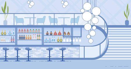 Nightclub Modern Interior with Bar and Staircase Иллюстрация