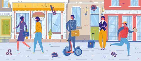 Urban Citizens Using Gyroscope as City Vehicle. Иллюстрация