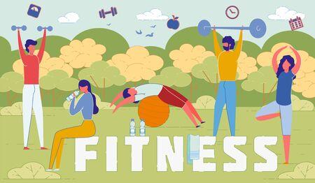 Outdoor Fitness Activities Word Concept Banner