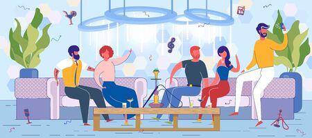 Friends Resting in Fashion Lounge Bar with Hookah. Иллюстрация