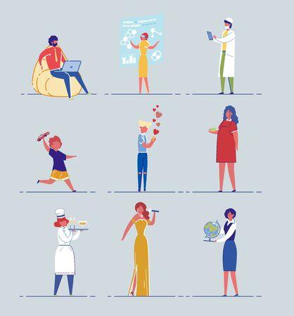 Diverse Age People Cartoon Characters Vector Set. Иллюстрация