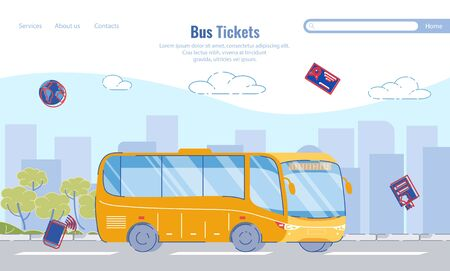 Large Selection Routes, Bus Tickets, Cartoon. Иллюстрация
