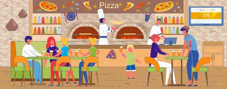 Fast Food Pizzeria Interior with Clients and Cook. Vectores
