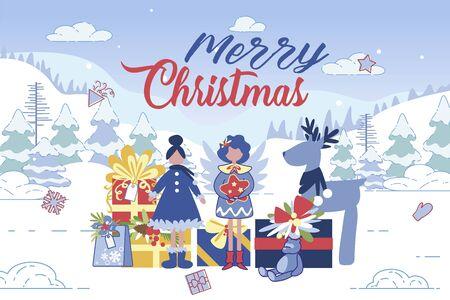 Merry Christmas Greeting Card or Postcard Banner Иллюстрация