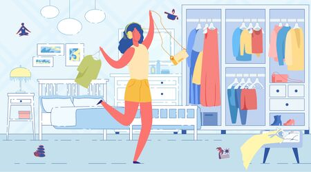 Girl Going for Walk and Have Fun at Home to Music. Woman in Headphones Dancing in Middle Room, she Pulled Things out Closet and Choose what to Wear. In Bedroom Large Bed, Bedside Table and Mirror.