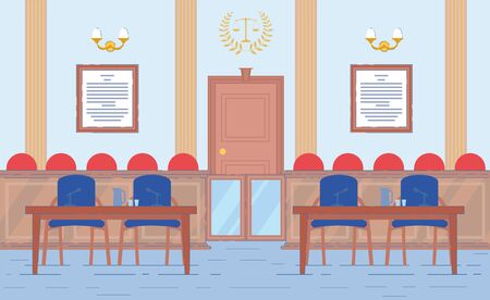 Courthouse Hall Interior with View on Public Seats Zone Prosecutor and Lawyer Places in Trial Room Background. Justice, Law and Order Maintaining Government Institutions. Flat Vector Illustration.