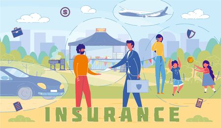 Insurance Company Services Word Concept Banner. Personal and Family Insurance Policy. Real Estate Protection. Automobile and Travel Security Package. Agent, Broker Consultation Promo Poster