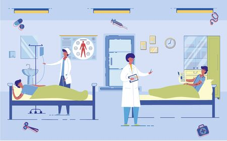 Doctor in Uniform Prescribes Treatment for Patients in Intensive Care Unit in Hospital. Sick Unhealthy People Medical Assistance in Healthcare Institution Interior. Flat Cartoon Vector Illustration.
