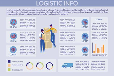 Logistic Info, Infographic, Vector Illustration. Man and Woman in Uniform are Standing next to Load Packed in Boxes. Guy Holds Box, Girl Holds Parcel with one Hand and Leans on Boxes.