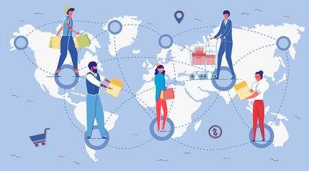 People in Different World Parts with Purchases Flat Cartoon Vector Illustration. Men and Women Holding Shopping Bags, Carts with Boxes. Expanding Brand Stores Chain or Network. Franchising Concept.