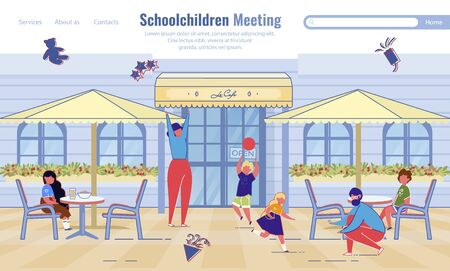 Schoolchildren Meeting. Online Service. Cartoon Teachers, Children Rest at Cafe. Adults and Kids Snacking, Playing Together. Communication and Education. Flat Landing Page Design. Vector Illustration Illustration