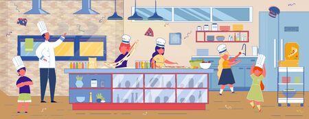 Les enfants de dessin animé préparent la pizza dans la cuisine de restaurant ou de café. Master Class culinaire. L'homme en uniforme d'enseignement Kid. Garçon et fille en chapeau blanc apprentissage Pizza préparation Vector Illustration