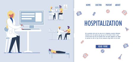 Patients Hospitalization and Medical Assistance Services. Patients Placement and Accommodation in Medical Institutions. Healthcare Treatment in Inpatient Care Units. Flat Vector Illustration.