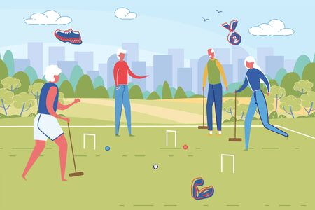 Sportive Good Looking Senior People Playing Cricket in City Park. Retirement and Active Rest in Pension or Nursing House. Healthy Vigorous Lifestyle in Old Age. Flat Cartoon Vector Illustration.