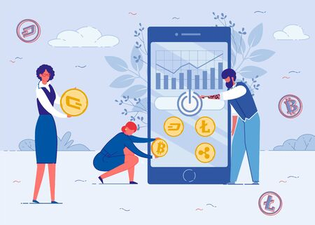 Bitcoin Exchange, Earning Money Flat Cartoon Vector Illustration. Blockchain Technology, Cryptocurrency Mining. People Creating Web Design on Mobile Phone. Raising and Palling Graphs.