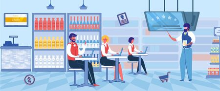 Workers for Supermarket or Food Shop Preparing for Job Flat Cartoon Vector Illustration. Teacher with Pointer Telling Store Principles and Politics, Franchising Concept. Selling Products.