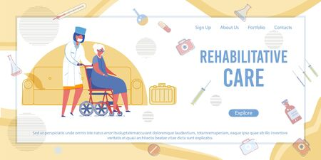 Rehabilitative Care Banner. Doctor Push Senior Woman on Wheelchair. Nurse Help Patient in Rehabilitation Center. Physiotherapy Treatment, Recovery. Medical Clinic Vector Illustration