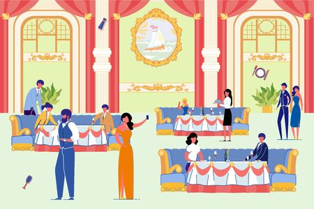 People in Luxurious Restaurant with Elegant Interior. Man and Woman Sit on Couch, Drink Wine. Waiter Serve Delicious Meal on Table. Celebrity Party Presentation Vector Illustration