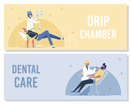Drip Chamber, Dental Care Banner. Nurse Put Intravenous Dropper to Senior Patient on Bed. Woman Doctor Check Man Theeth on Dentist Chair. Thoothache Stomatology Treatment Vector Illustration Vector Illustration
