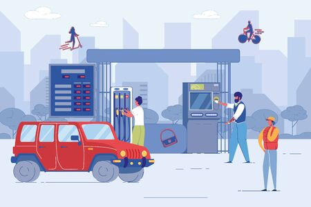 Woman Taking Fuel Nozzle Pump for Car Refueling. Bearded Man Buying Petrol via ATM Machine. Young Guy Talking Phone. People Character at City Petrol or Gas Station. Vector Lifestyle Illustration Vektoros illusztráció