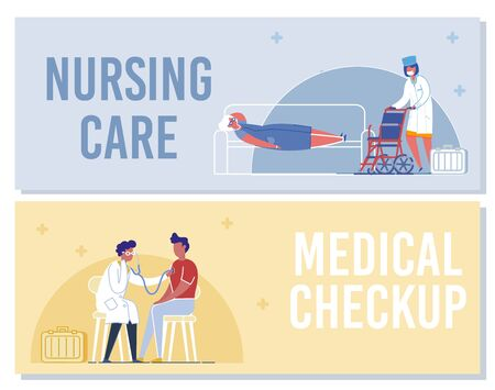 Nursing Care, Medical Checkup Banner. Nurse with Wheelchair Help Senior Woman. Doctor Examining Man Patient with Stethoscope. Professional Medical Diagnostic and Care Vector Illustration Illustration