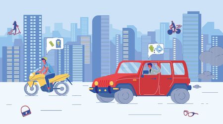 Guy Riding Economic Electric Motorcycle. Angry Man Driving Gasoline Car and Seeing Lack of Fuel. Alternative Ecological Transport Versus Traditional Petrol Auto on Road. Vector Illustration