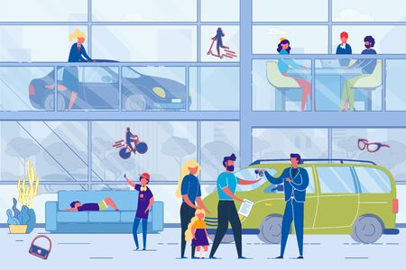 Auto Dealer and Vehicle People Buyer Car Showroom Sales Agency. Family Couple with Children Getting Key from Seller on First Floor. Man and Woman Drawing up Contract. Vector Lifestyle Illustration  イラスト・ベクター素材