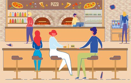 Man and Woman Eat Pizza in Pizzeria Room. Interior with Furnace, Chair, Table, Cash Machine on Counter. People Meeting in Italian Cafe Vector Illustration. Fastfood, Lunch, Fast Delivery Service