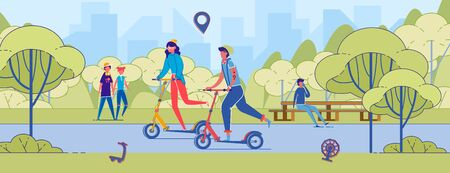 Cartoon Man and Woman Riding Kick Scooter Together in Park. Young Hipster Couple on Push-scooter. Eco Transportation, Mobility in City. Summer Day Active Leisure Vector Illustration