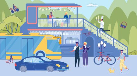 People Character Talking Cross Road. Guy Walking Dog on Leash. Urban Transport Traffic. Visitor Eat in City Street Cafe on Roadside. Waiter Go up Stairs with Food Order on Tray. Lifestyle Illustration