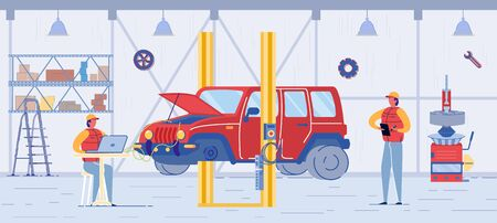 Auto Service, Car Electronic Diagnostics. Automobile with Wire under Open Hood. Mechanic Repairman with Notebook make Computer Diagnosis. Fixing Car Problem, Maintenance Service Vector Illustration