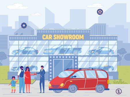 Family Buy Minivan at Car Showroom. Dealer Sell Car, Give Key to New Owner. Man and Woman with Child Purchase Automobile from Salesman Agent Vector Illustration. Retail or Rent Auto Business