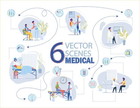 6 Vector Medical Scenes. Doctor Bandage Injured Leg. Woman Dressing in Hospital. First Aid. Nurse Take Blood Sample with Syringe from Man. Drip Chamber Nurse Put Dropper Vector Illustration