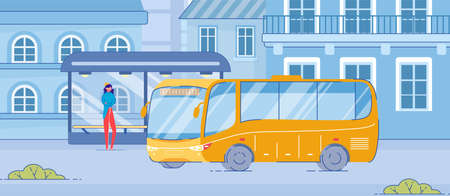 Cartoon Woman Stand at Public Transport Stop on Roadside. Yellow Bus Drive to Modern Glass Stop with Bench on Street. Urban Transportation Service. Waiting for Bus Illustration