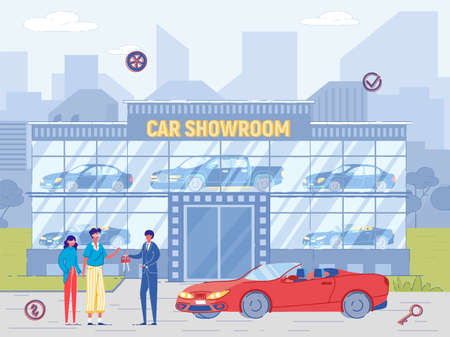 People Buy Luxury Cabriolet at Car Showroom. Dealer Sell Car, Give Key to New Owner. Man and Woman Purchase Automobile from Salesman Agent Illustration. Retail or Rent Auto Business Illustration
