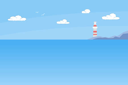 Lighthouse Tower Standing on Rocky Seashore Under Sun Shining in Blue Cloudy Sky. Marine Landscape with Red and White Beacon Stand on Seaside. Tranquil Nautical Background, Cartoon Vector Illustration