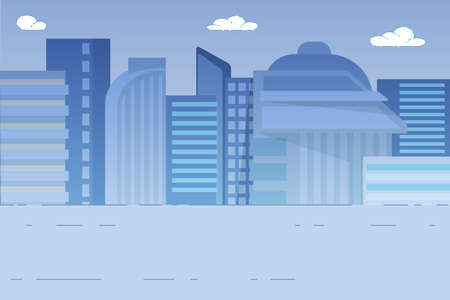 City Landscape Background with Modern Tall Buildings of Downtown or Business Area, City Development, Construction Architecture Cityscape with Skyscrapers, Houses Exterior View Flat Vector Illustration