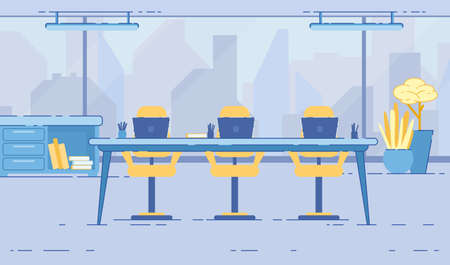 Office Meeting Room Interior with Glass Wall, Panoramic Window with Cityscape, Large Table with Yellow Chairs Potted Plants and Bookcase with Folders Modern Work Place Cartoon Flat Vector Illustration