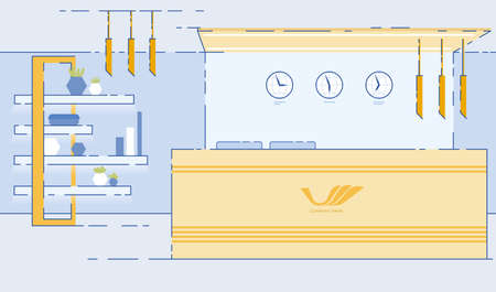 Travel Agency, Hotel Reception Room, Hallway or Lobby Empty Interior Design with Administrator Desk, Clocks for Different Time Zones, Modern Lamps and Shelf for Plants Cartoon Flat Illustration