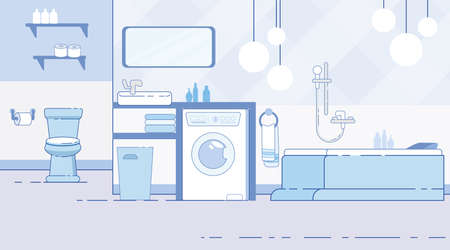 Home, Apartment or Hotel Room Bathroom, Toilet Modern Interior Flat Background with Contemporary Bath, Washing Machine, Towels Under Sink, Hanging Ball Lamps, Lavatory Ceramic Bowl Illustration Иллюстрация