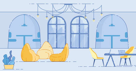 Contemporary Coworking Area with Working Space with Desk, Chairs and Laptops and Lounge Zone with Soft Bag Chairs. Large Room with High Ceiling, Lamps and Arch Windows Cartoon Flat Illustration