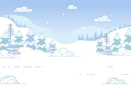 Coniferous Winter Forest. Nature Landscape Background, Wintertime Scene with Hills and Wood Plants Covered with Beautiful Snow. Christmas Holidays, Mountain Resort. Cartoon Flat  Illustration Illustration