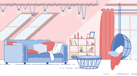 House Attic Room, Guest Room on Home Garret Cozy Interior Flat Vector Background with Comfortable, Soft Sofa, Hanging on Rope Egg Chair, Rack with Books, Lamps Garland on Sloppy Ceiling Illustration Illustration