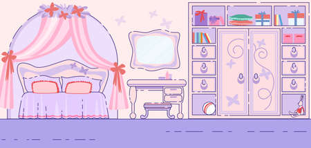 Little Girl Bedroom Fairytale Interior Flat Vector Background with Pink Walls and Fancy Furniture, Veil Under Soft Double Bed, Makeup Table with Mirror and Toys on Big Wardrobe Shelves Illustration